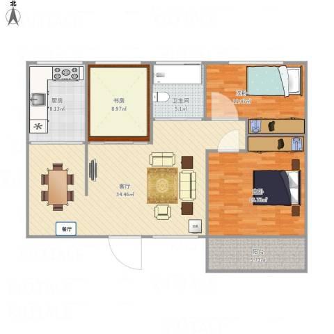 侨福城3室1厅1卫1厨122.00㎡户型图