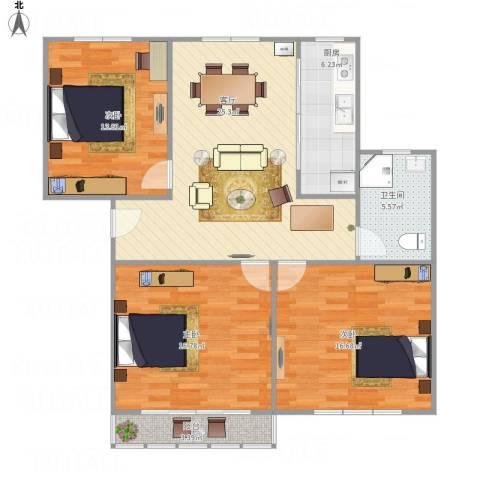 解放新村3室1厅1卫1厨117.00㎡户型图