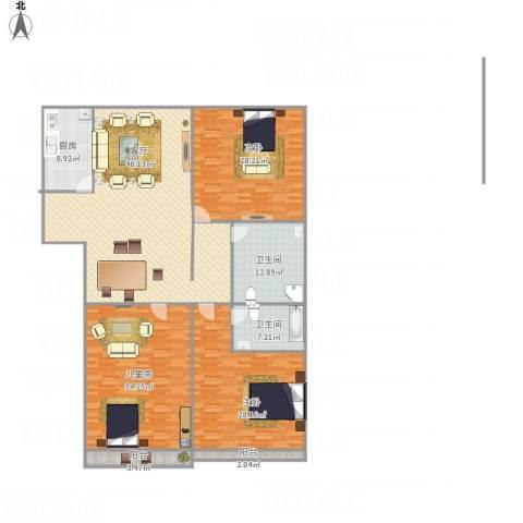 汇源华庭3室1厅2卫1厨240.00㎡户型图