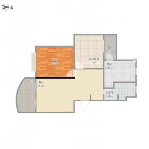 虹康花苑二期1室1厅1卫1厨89.00㎡户型图