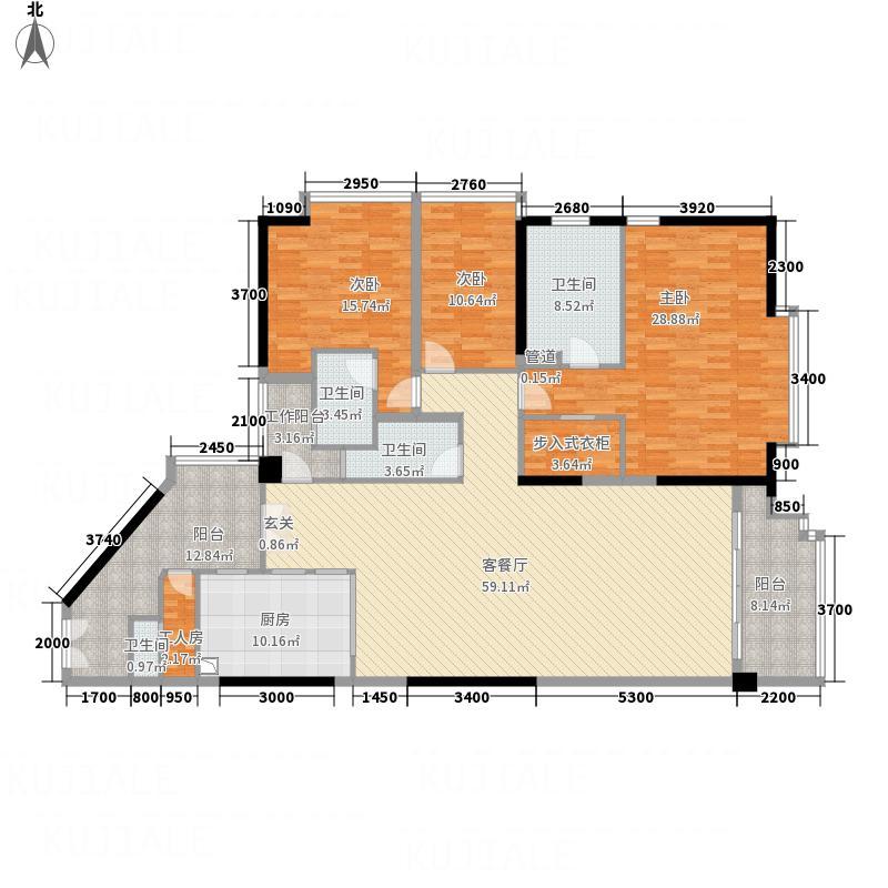 肯辛顿国际公寓25.24㎡08单元户型4室2厅4卫1厨