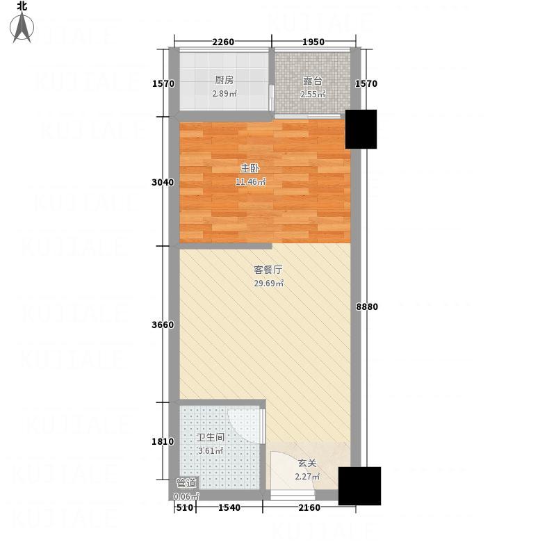 苹果公寓54.65㎡A户型1室1厅1卫1厨