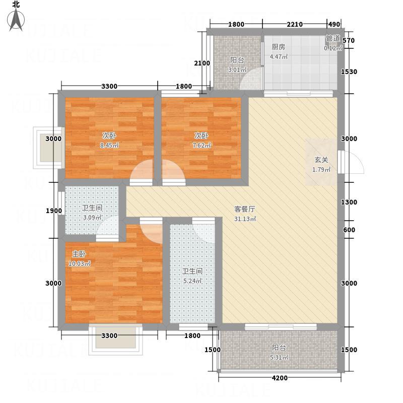 同立紫郡玫瑰园B1户型3室2厅2卫1厨