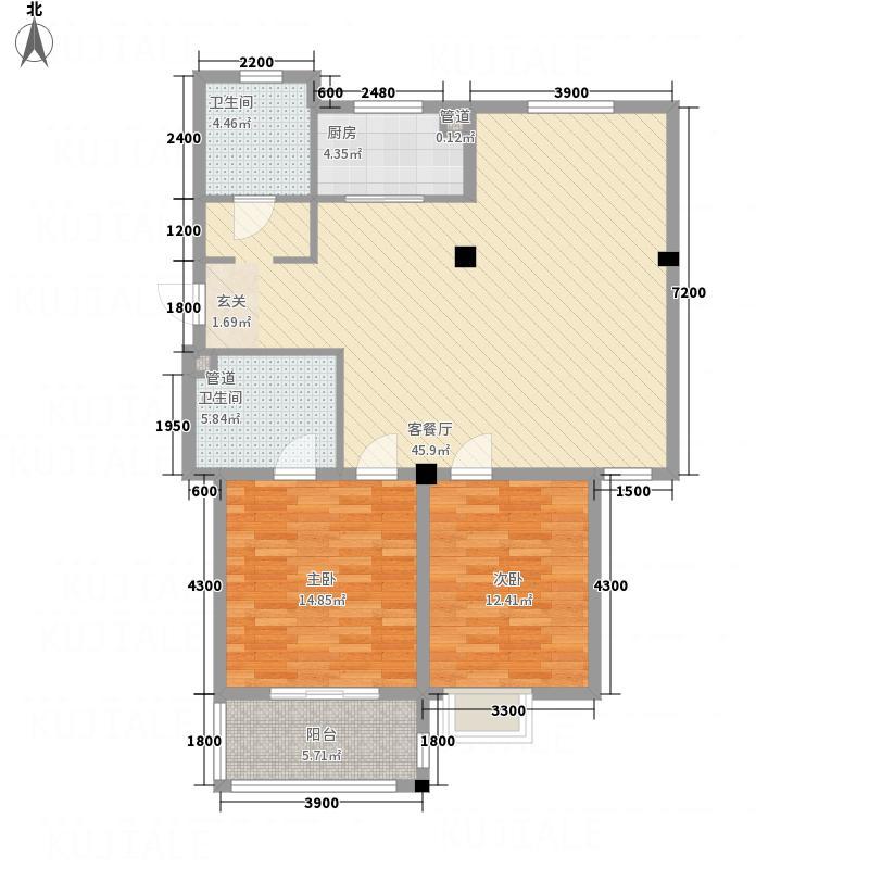 名门嘉苑2122.38㎡户型2室2厅2卫1厨