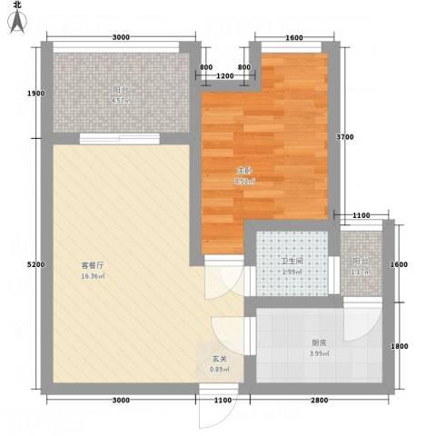 一里香堤1室1厅1卫1厨43.95㎡户型图
