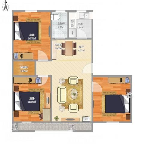 富强小区3室1厅1卫1厨86.00㎡户型图