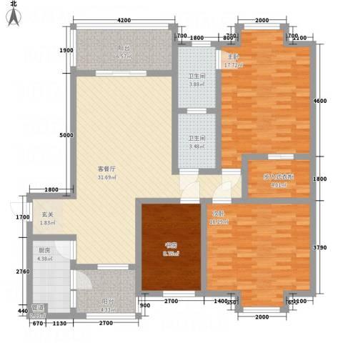 一里香堤3室1厅2卫1厨117.87㎡户型图