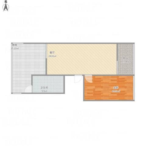 文明小区1室1厅1卫1厨85.00㎡户型图