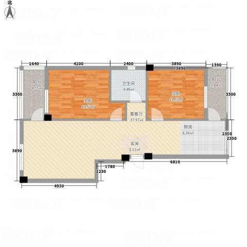 金澜名邸2室1厅1卫0厨106.00㎡户型图
