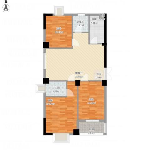 龙海明发广场3室1厅2卫1厨113.00㎡户型图