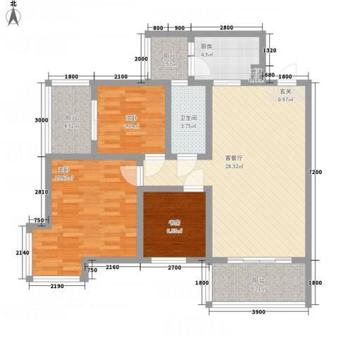 一里香堤3室1厅1卫1厨92.13㎡户型图