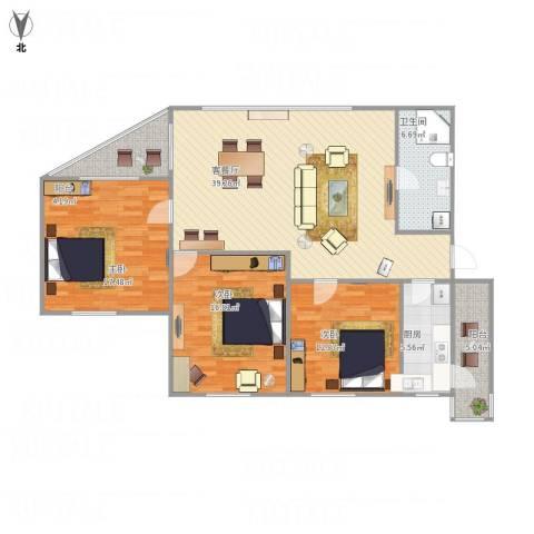 水星阁3室1厅1卫1厨144.00㎡户型图