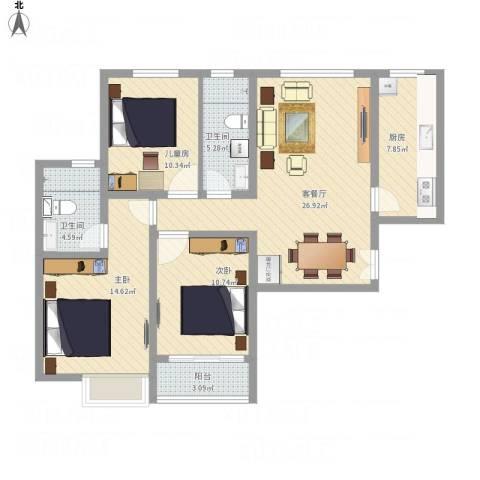 珠光御景3室1厅2卫1厨113.00㎡户型图