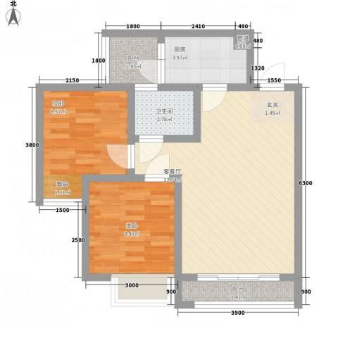 江山假日2室1厅1卫1厨56.00㎡户型图