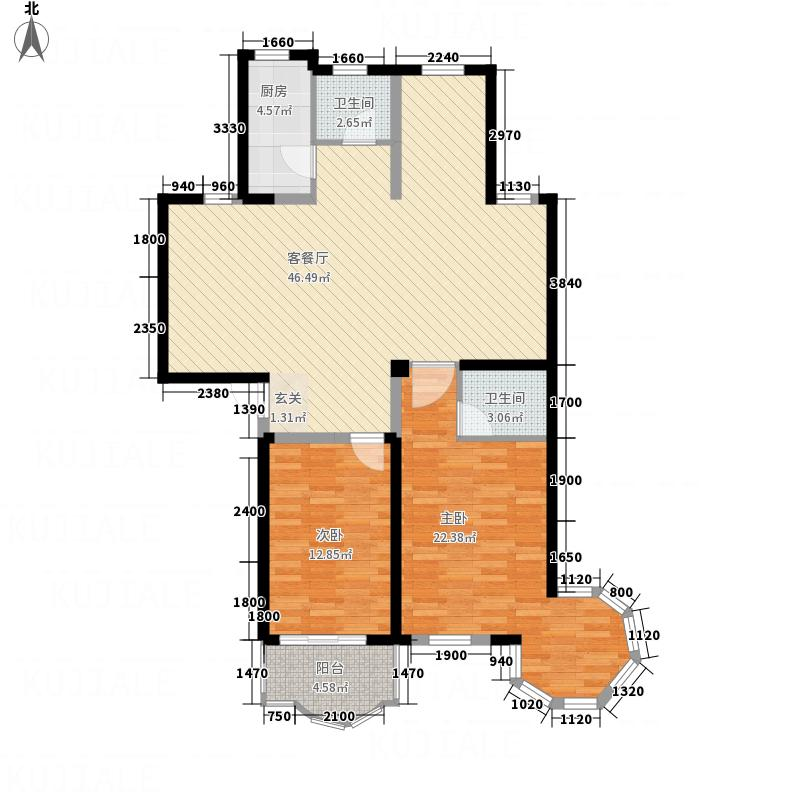 明珠花园124.00㎡户型2室2厅2卫1厨