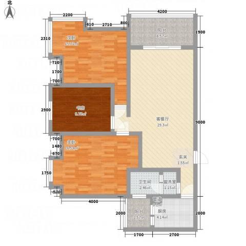 一里香堤3室2厅1卫1厨102.74㎡户型图