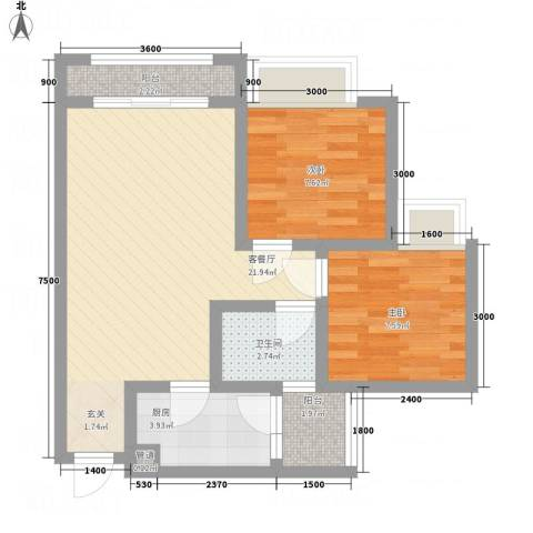 江山假日2室1厅1卫1厨54.00㎡户型图