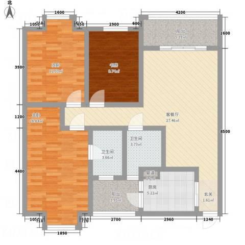 一里香堤3室1厅2卫1厨103.63㎡户型图