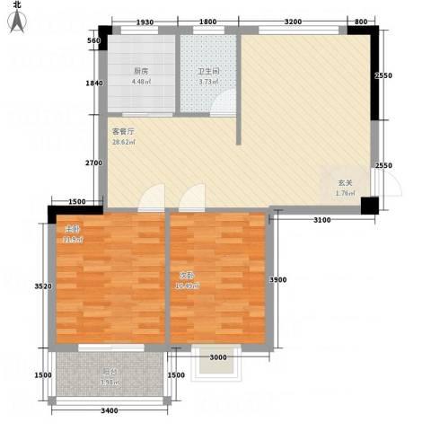 昌润・嘉和苑2室1厅1卫1厨63.20㎡户型图