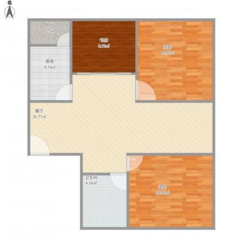 云涛阁3室1厅1卫1厨116.00㎡户型图
