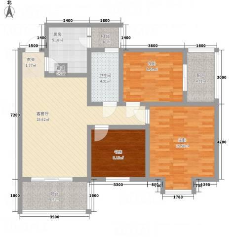 一里香堤3室1厅1卫1厨94.07㎡户型图