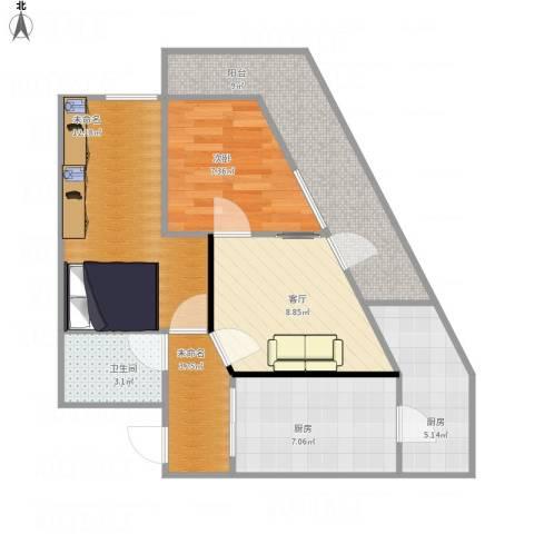 北兴教育园1室1厅1卫2厨78.00㎡户型图