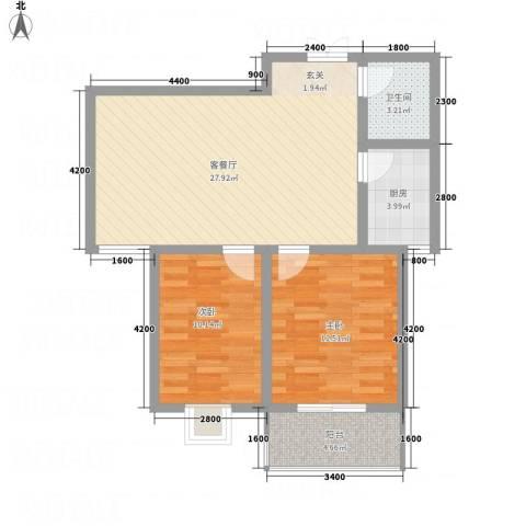 帝上龙园2室1厅1卫1厨88.00㎡户型图