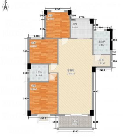 昌润・嘉和苑3室1厅2卫1厨90.79㎡户型图