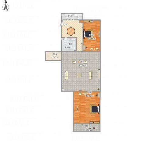 桃园北区2室2厅1卫1厨125.00㎡户型图