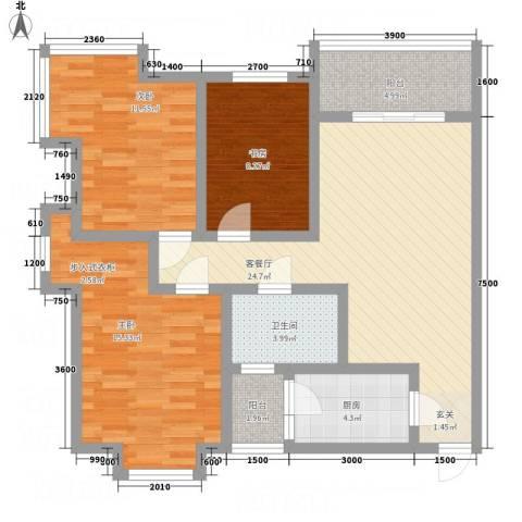 一里香堤3室1厅1卫1厨88.57㎡户型图