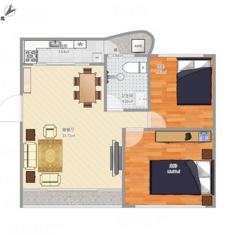 桦润馨居2室1厅1卫1厨79.00㎡户型图