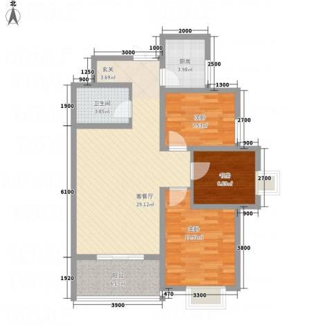 帝上龙园3室1厅1卫1厨69.23㎡户型图