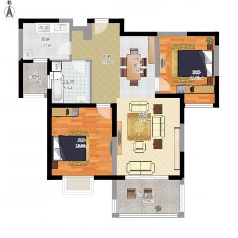 三湘森林海尚2室1厅1卫1厨114.00㎡户型图