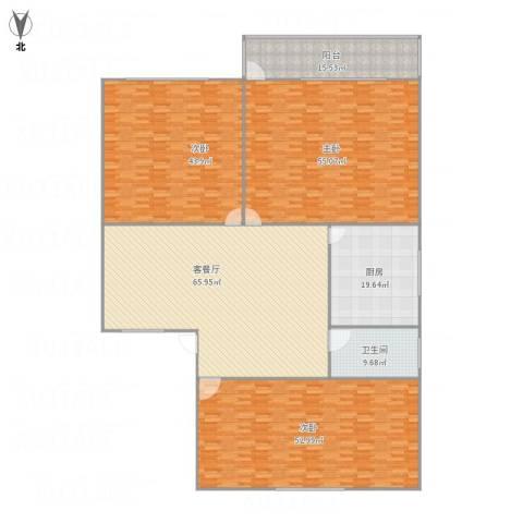 艮园3室1厅1卫1厨342.00㎡户型图