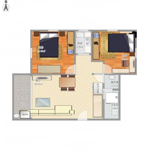 昌盛小区2室2厅1卫1厨69.00㎡户型图