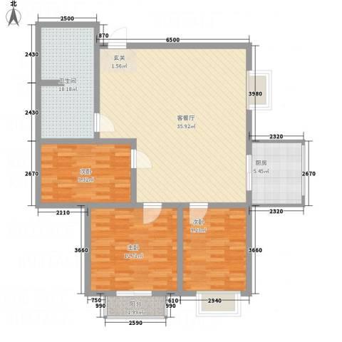 教授花园3室1厅1卫1厨84.80㎡户型图