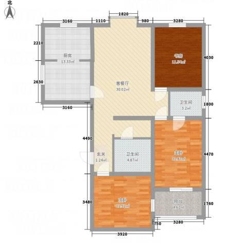 教授花园3室1厅2卫1厨134.00㎡户型图