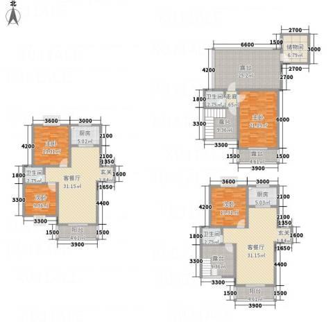 同立紫郡玫瑰园4室2厅3卫2厨294.00㎡户型图