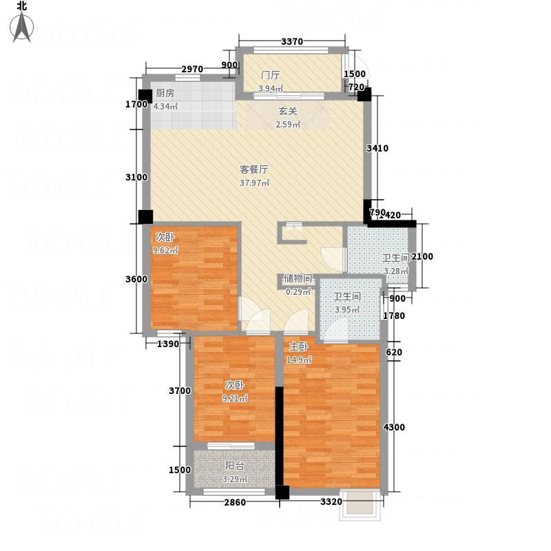 兆基光明城3室1厅2卫0厨86.45㎡户型图