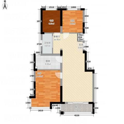 渤海之星3室1厅1卫1厨100.00㎡户型图