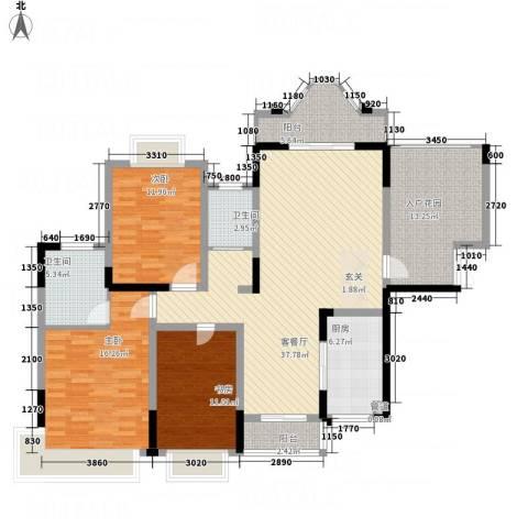 锦绣江山3室1厅2卫1厨143.00㎡户型图