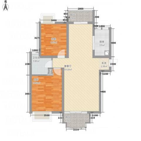 世纪中央城2室1厅1卫1厨101.00㎡户型图