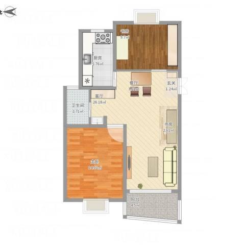 盘龙苑2室1厅1卫1厨88.00㎡户型图