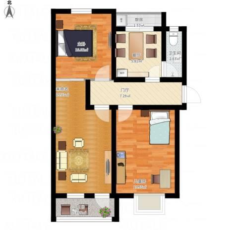 幸福小区2室1厅1卫1厨84.00㎡户型图