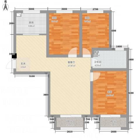 世纪中央城3室1厅1卫1厨104.00㎡户型图