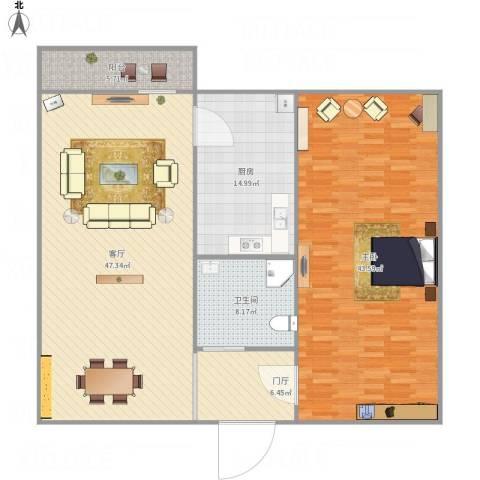 无影山新村1室1厅1卫1厨166.00㎡户型图