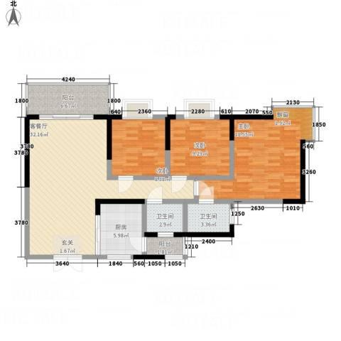 江山假日3室1厅2卫1厨129.00㎡户型图
