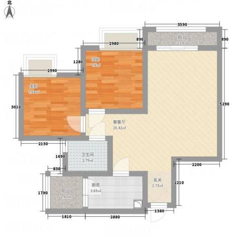 江山假日2室1厅1卫1厨59.00㎡户型图