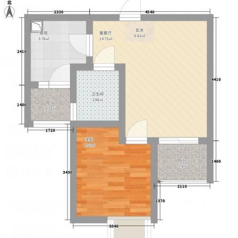 江山假日1室1厅1卫1厨37.00㎡户型图