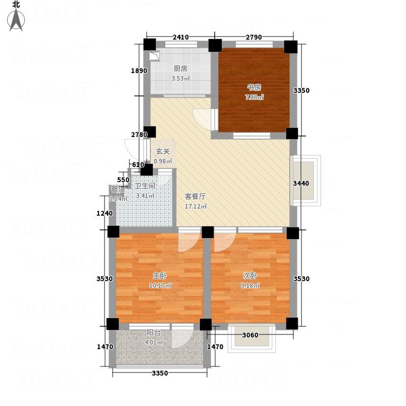 嘉汇花溪地82.00㎡一期多层B户型3室2厅1卫1厨
